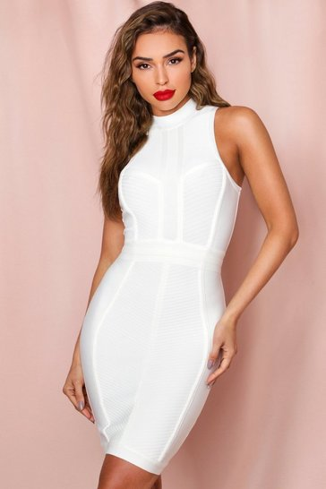 White High Neck Rib Paneled Bandage Dress
