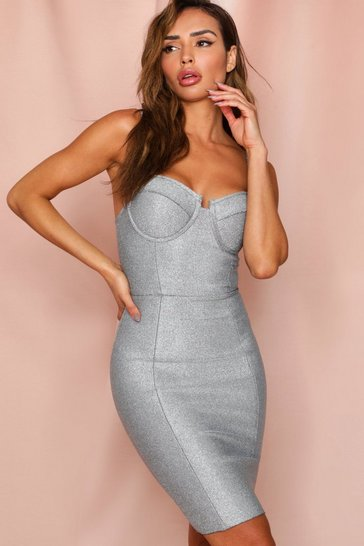 Silver Metallic Cupped Bandage Bodycon Dress