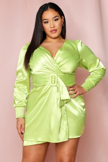 Lime satin puff shoulder belted dress