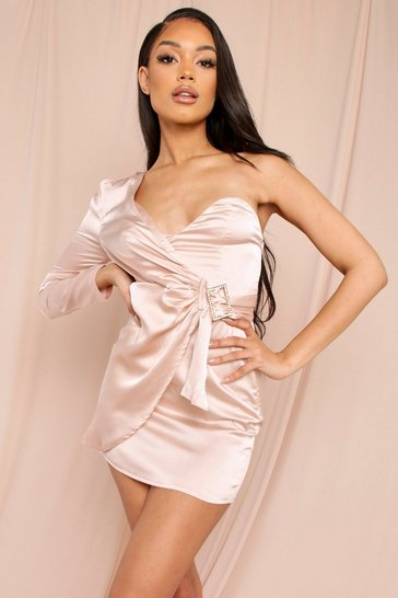 Champagne satin one shoulder diamante buckle dress