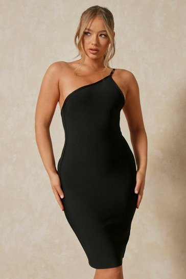 Black one shoulder bandage midi dress