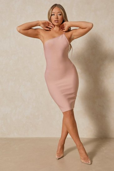 Blush One Shoulder Bandage Midi Dress