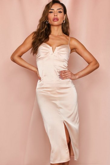 Champagne SATIN CUPPED SPLIT LEG MIDI DRESS