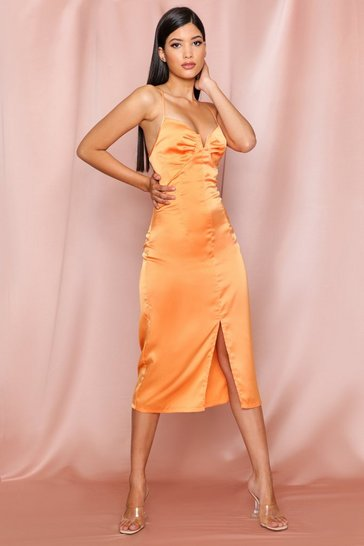 Orange Satin Cupped Split Leg Midi Dress