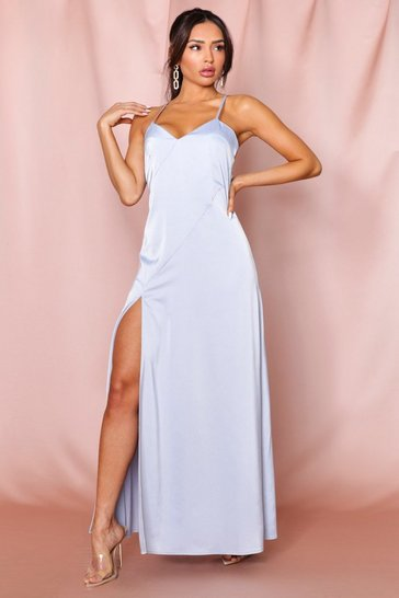 Blue premium satin backless panelled maxi dress