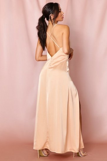 Camel Premium Satin Backless Paneled Maxi Dress
