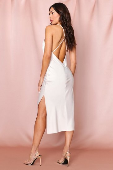 Oyster Premium Satin Backless Split Leg Midi Dress