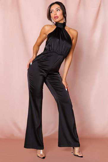 Black Backless Premium Satin Wide Leg Jumpsuit