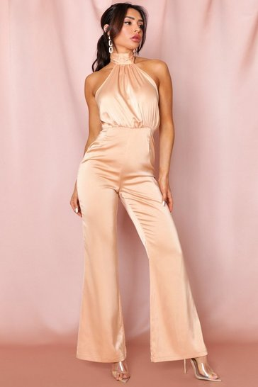 Camel backless premium satin wide leg jumpsuit