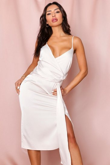 Oyster Drape Front Premium Satin Midi Dress