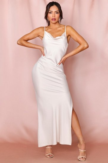 Oyster Premium Satin Cowl Neck Split Leg Maxi Dress