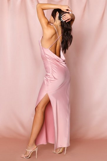 Rose pink premium satin cowl neck split leg maxi dress