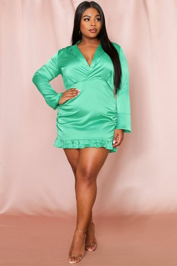 Green Ruched Frill Hem Satin Dress