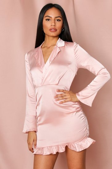Rose pink Ruched Frill Hem Satin Dress