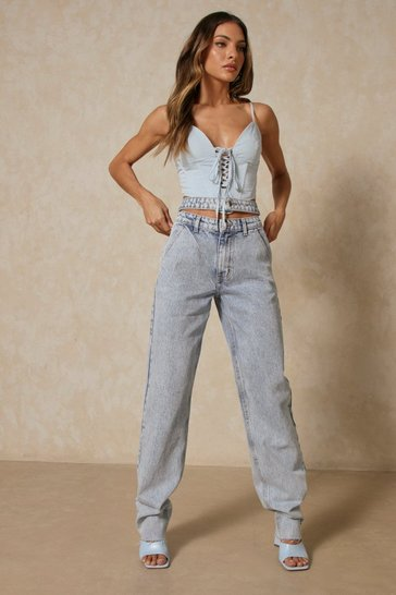 Mid wash Asymmetric Double Waistband Straight Leg Jeans