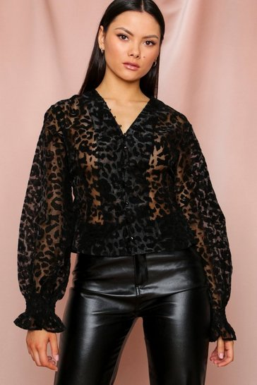 Black Leopard Print Organza Button Blouse