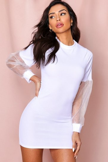 White Organza Sleeve Ribbed Bodycon Dress