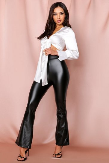 Black Faux Leather Flare Pants