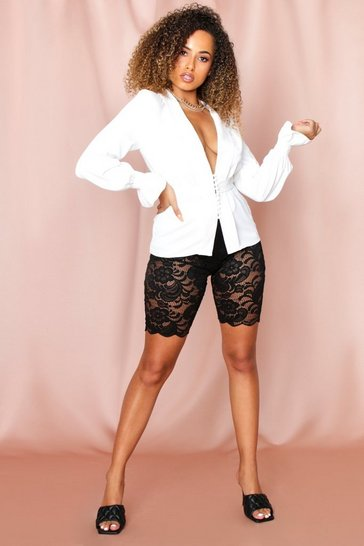 White Button Front Ruched Sleeved Tailored Blouse