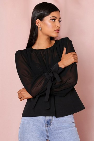 Black Sheer Tie Sleeve Pephem Blouse