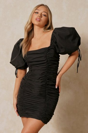 Black Ruched Puff Sleeve Square Neck Dress