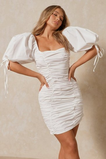 White Ruched Puff Sleeve Square Neck Dress