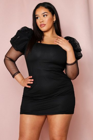 Black Spotty Mesh Puff Sleeve Square Neck Dress