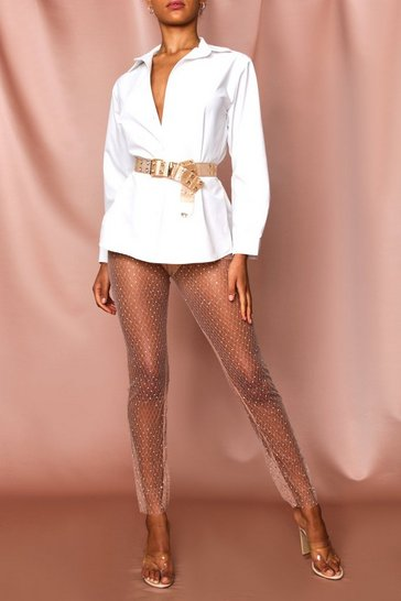 Tan Diamante Studded Mesh Leggings