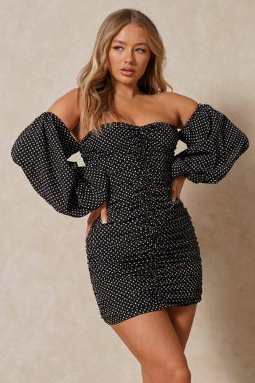 Black Polka Dot Ruched Balloon Sleeve Off The Shoulder Dress