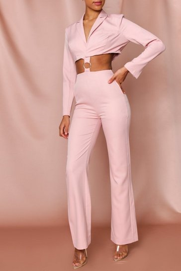 Rose pink Ring Detail Cut Out Blazer Jumpsuit