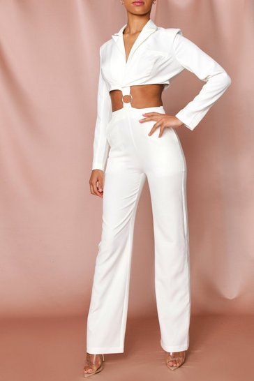 White Ring Detail Cut Out Blazer Jumpsuit
