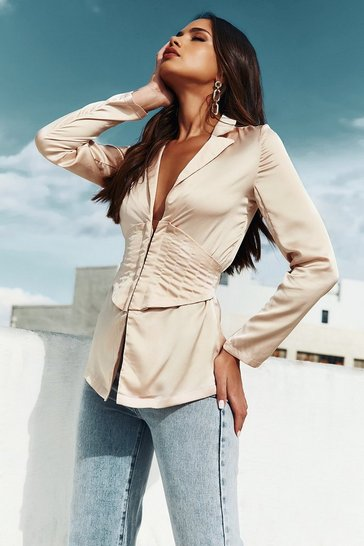 Taupe Satin Quilted Corset Long Line Blazer