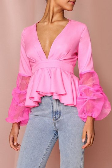 Pink Ruched Organza Sleeve Pleated Plunge Top