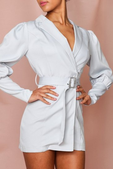 Blue Diamante Belt Puff Shoulder Blazer Dress