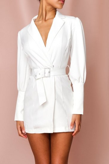 White Diamante Belt Puff Shoulder Blazer Dress