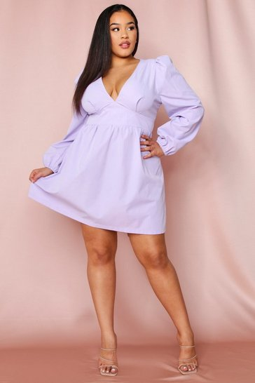 Lilac Puff Shoulder Plunge Skater Dress