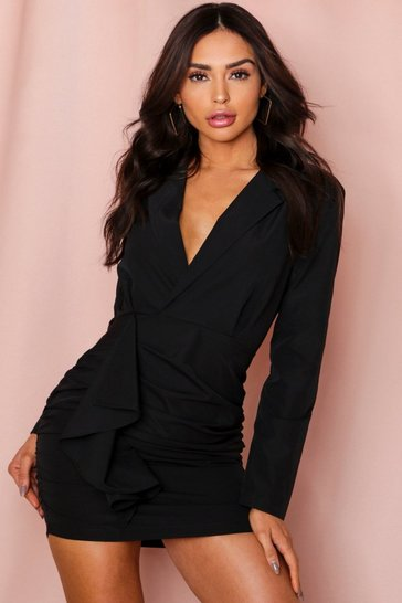 Black Frill Ruched Blazer Style Dress
