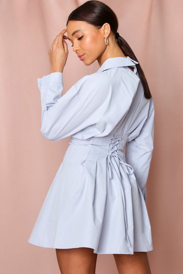 Pale blue Lace Up Back Skater Shirt Dress