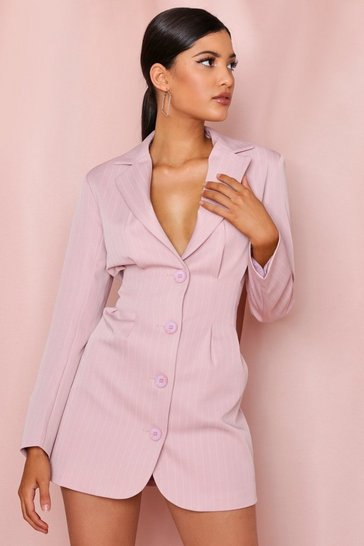 Nude Pinstripe Cinched Waist Blazer Dress
