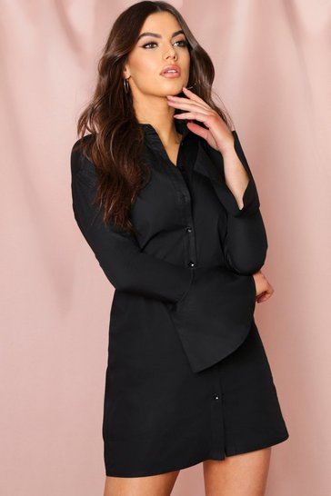 Black Flute Sleeve Shirt Dress