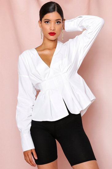 White Ruched Sleeve Plunge Balloon Shirt