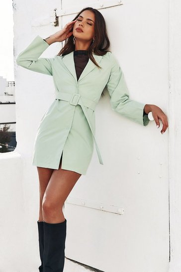 Mint Belted Blazer Dress