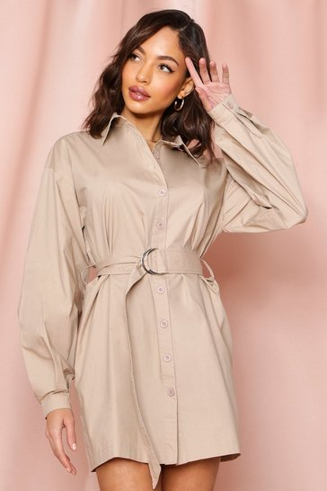 Nude Balloon Sleeve D-Ring Belted Shirt Dress
