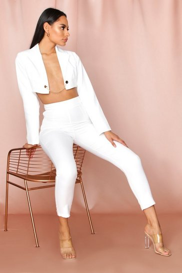 White high waisted tailored slim toursers