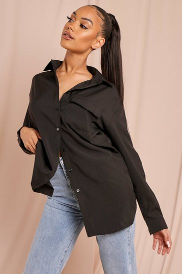 Black Oversized Pocket Detail Shirt