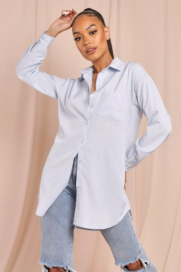 Blue oversized pocket detail shirt