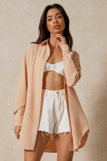 Stone Oversized Pocket Detail Shirt
