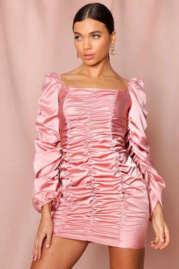 Rose pink satin ruched balloon sleeve mini dress