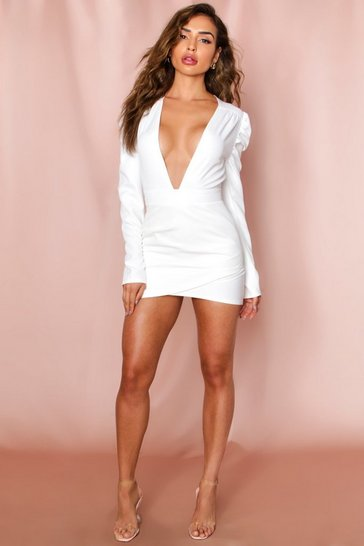 White puff shoulder plunge wrap dress