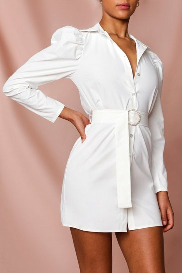 White Puff Shoulder Diamante Buckle Shirt Dress